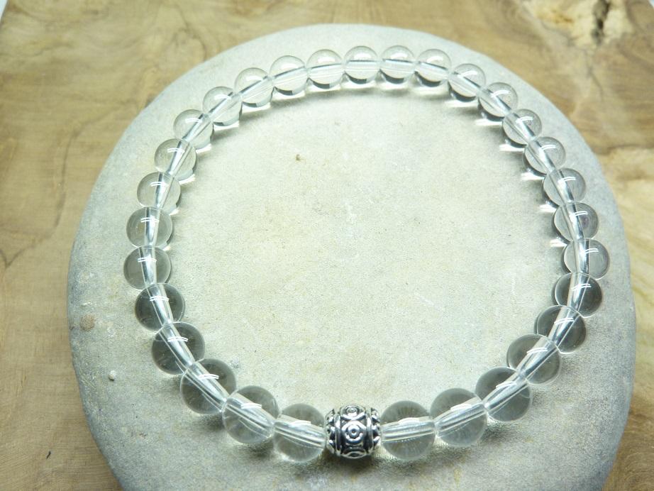 Bracelet cristal de roche - perles rondes 6 mm