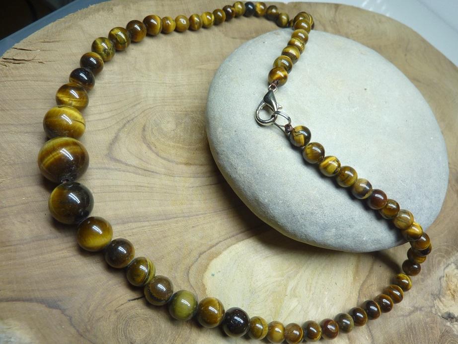 Collier Oeil de tigre - Perles rondes 14-6 mm