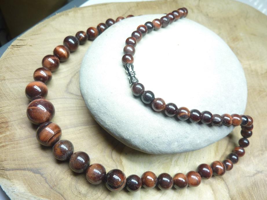Collier Oeil de taureau - perles rondes 14-6 mm