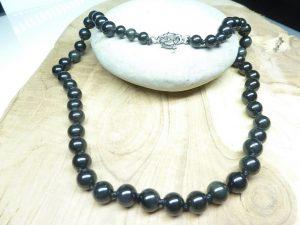 Collier Obsidienne oeil céleste - Perles rondes 8 mm