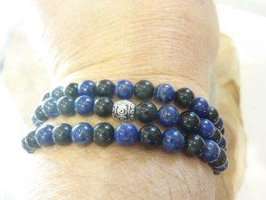 Collier Lapis Lazuli-Obsidienne oeil céleste - Perles rondes 6 mm