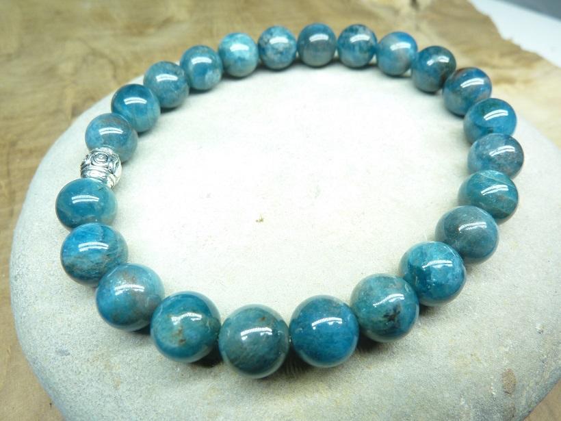 Bracelet Apatite - perles rondes 8 mm
