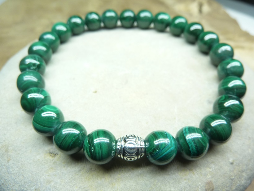 Bracelet Malachite - Perles rondes 8 mm