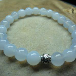 Bracelet Calcédoine bleue - Perles rondes 8 mm