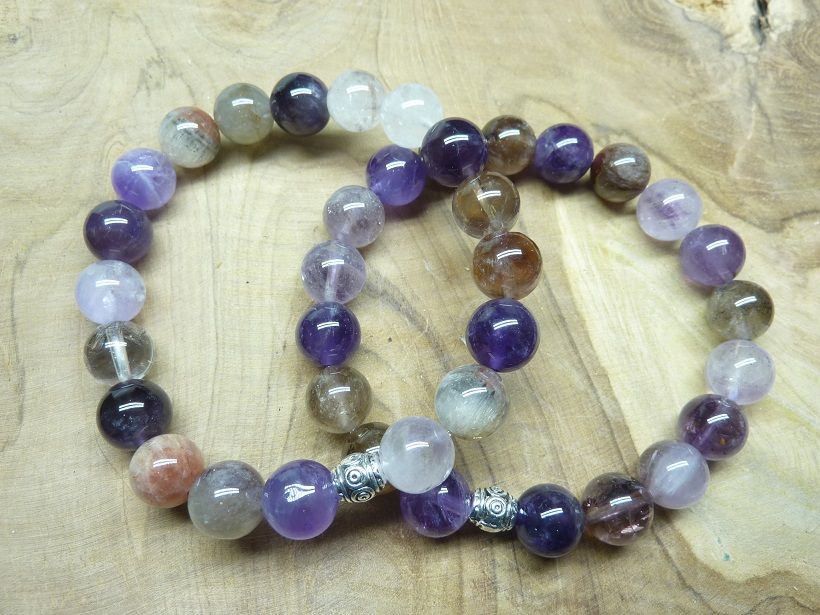 Bracelet Cacoxénite super seven - Perles 10 mm