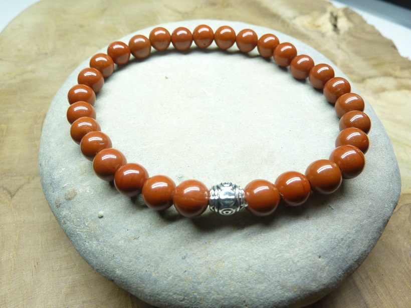 Bracelet Jaspe rouge - Perles rondes 6 mm