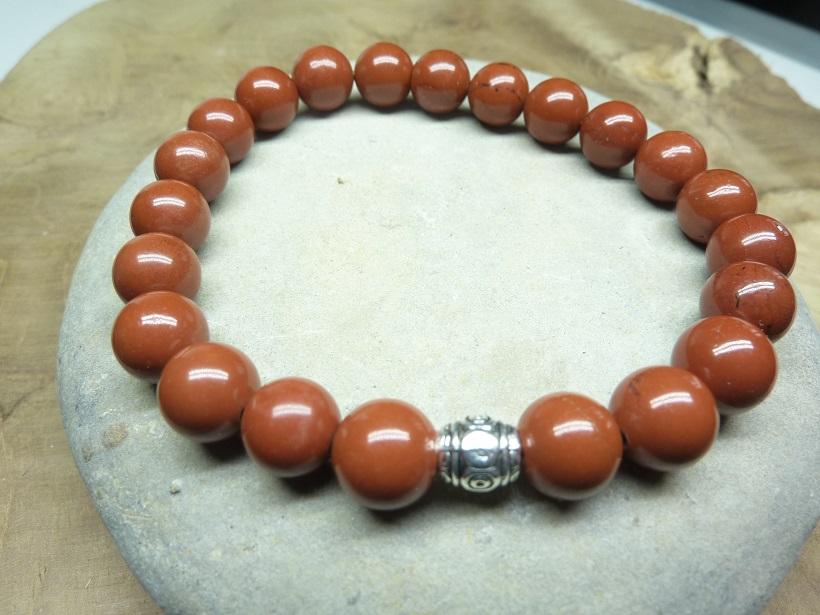 Bracelet Jaspe rouge - Perles rondes 8 mm