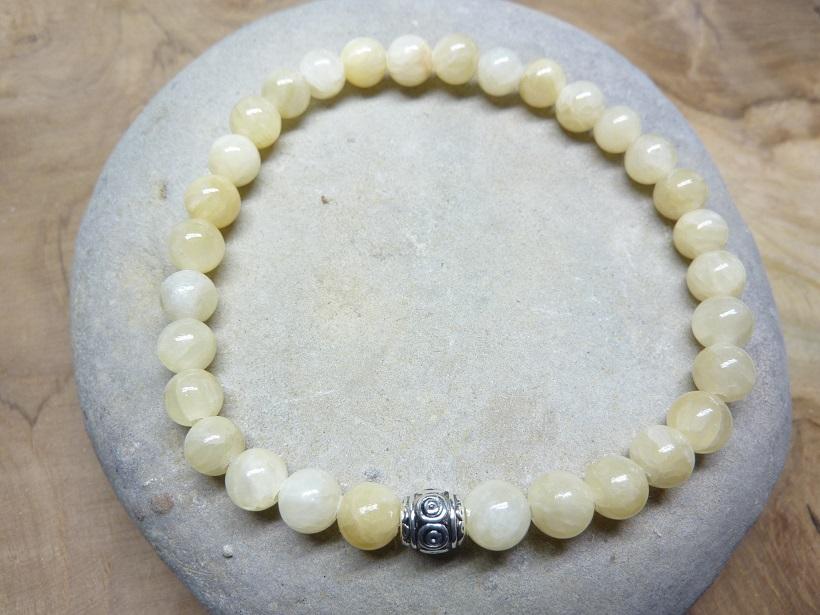 Bracelet Calcite orange - Perles rondes 6 mm