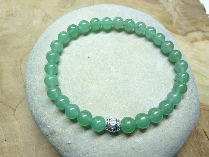 Bracelet Aventurine verte - Perles rondes 6 mm