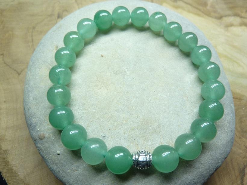 Bracelet Aventurine verte - Perles rondes 8 mm