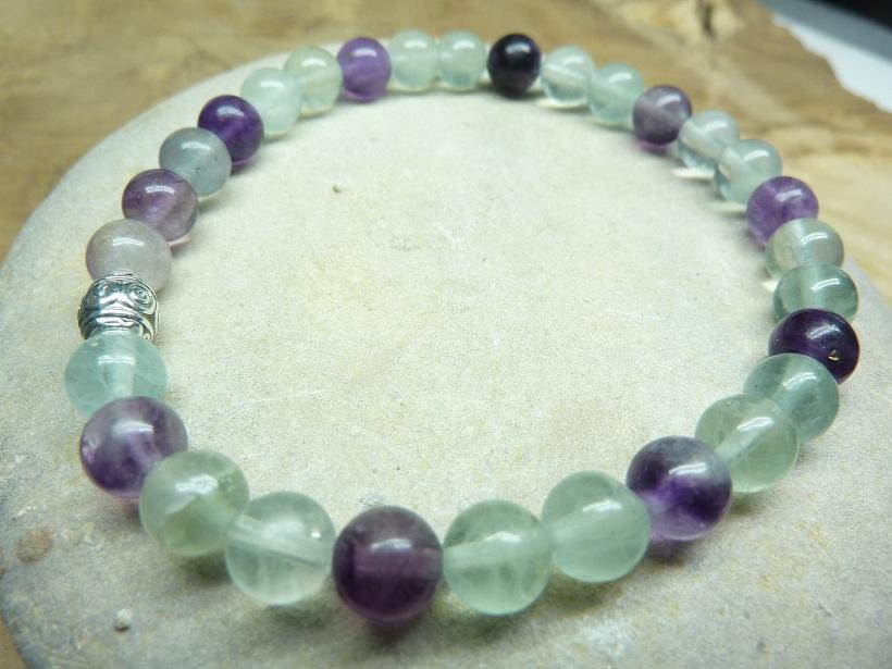 Bracelet Fluorite - perles rondes 6 mm