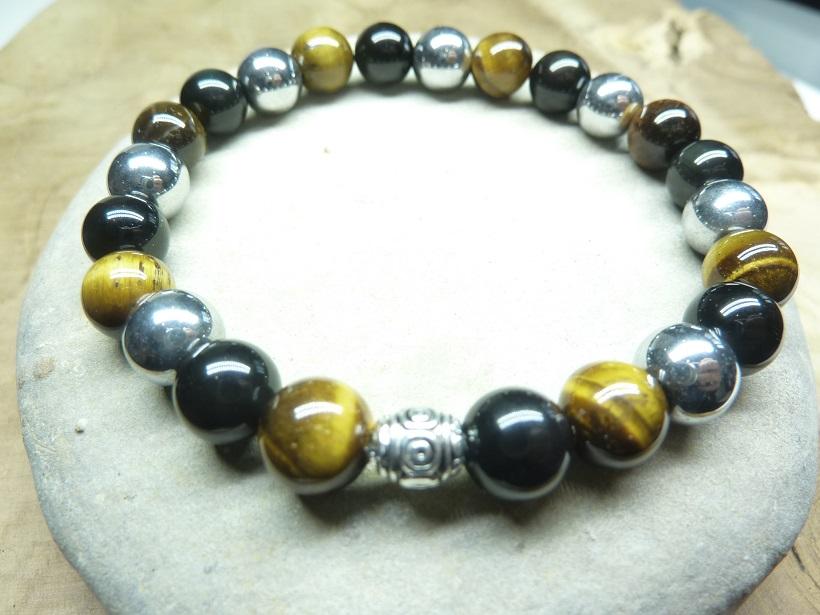 Bracelet triple protection - Perles rondes 8 mm