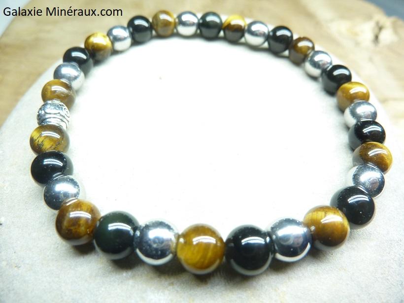 Bracelet triple protection - Perles rondes 6 mm