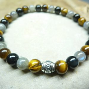 Bracelet oeil de tigre-Labradorite-obsidienne oeil céleste 6 mm