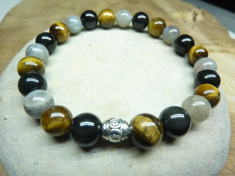 Bracelet oeil de tigre-Labradorite-obsidienne oeil céleste 8 mm