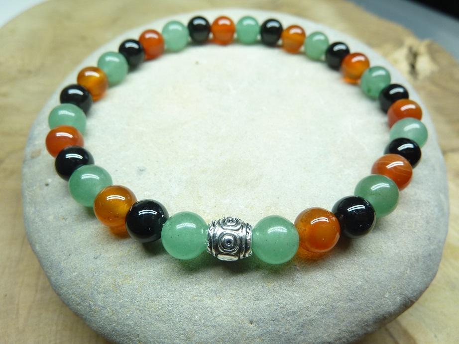Bracelet aventurine verte-Cornaline-Tourmaline noire perles rondes 6 mm