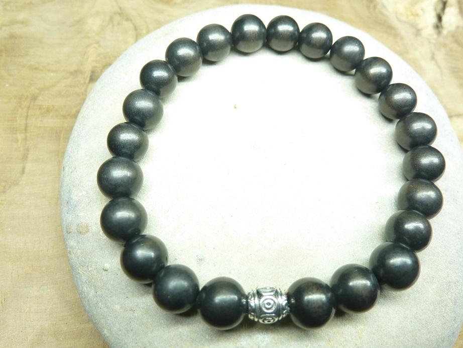 Bracelet Shungite - Perles rondes 8 mm