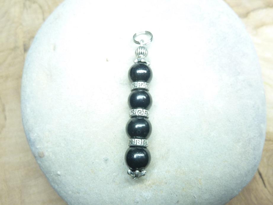 Pendentif Shungite - Perles rondes 8 mm