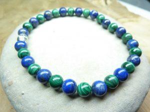 Bracelet Malachite-Lapis lazuli - Perles rondes 6 mm