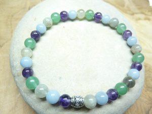 Bracelet Angélite-Aventurine-Labradorite-Améthyste 6mm
