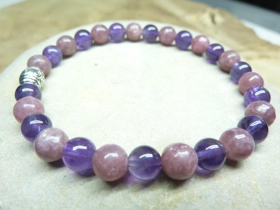 Bracelet Lépidolite-Améthyste - Perles rondes 6 mm
