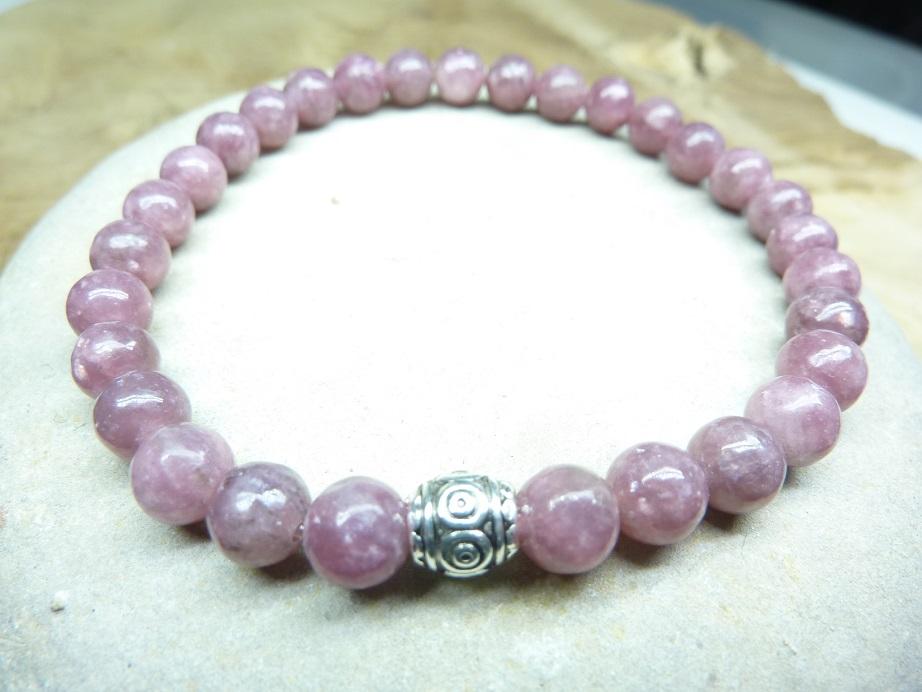 Bracelet Lépidolite - Perles rondes 6 mm