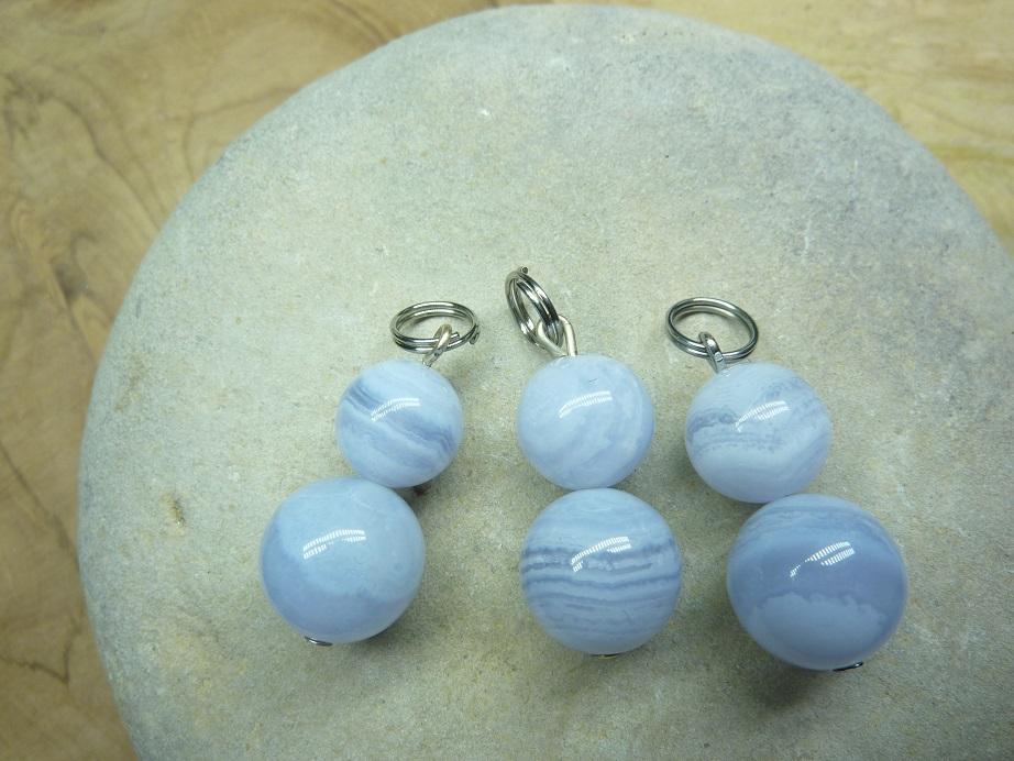 Pendentif Calcédoine bleue - Perles rondes 12-8 mm