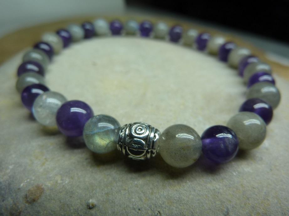 Bracelet Labradorite-Améthyste - Perles rondes 6 mm