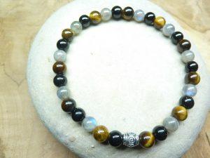 Bracelet Spinelle noir-oeil de tigre-Labradorite 6 mm
