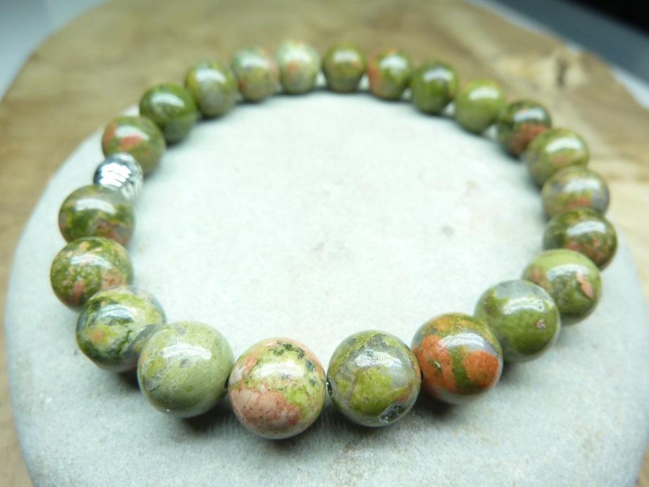 Bracelet Unakite - Perles rondes 8 mm