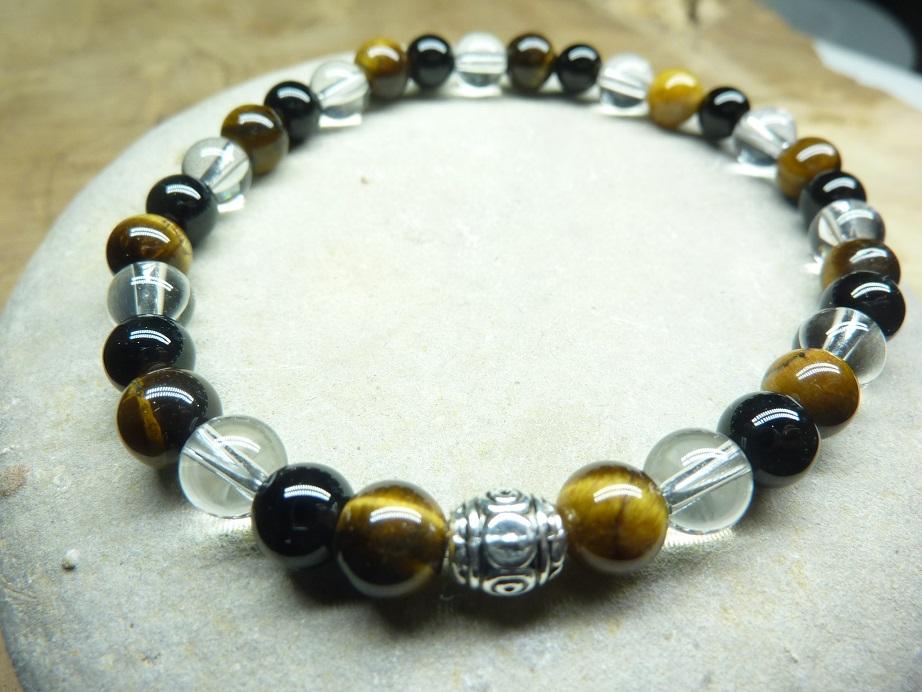 Bracelet Oeil de tigre-Quartz-Tourmaline noire 6 mm