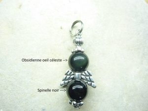 Pendentif Spinelle noir-Obsidienne oeil céleste 8 mm