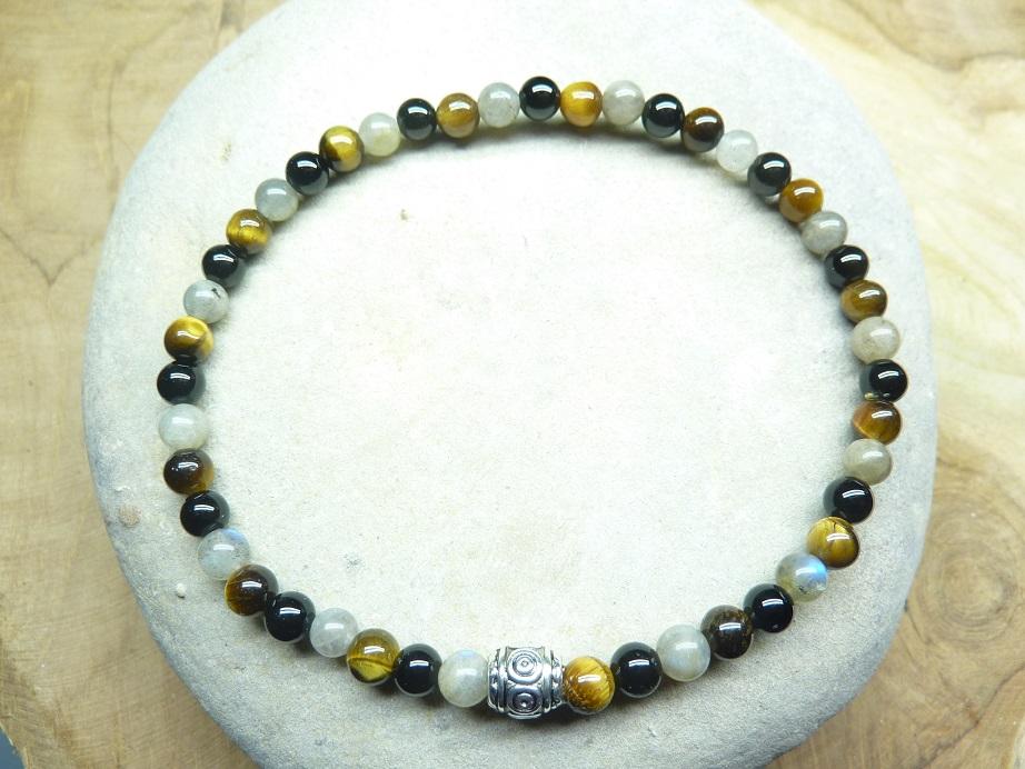 Bracelet Oeil de tigre-Labradorite-Tourmaline noire 4 mm