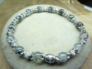 Bracelet Quartz tourmaliné-Plaqué argent 6 mm