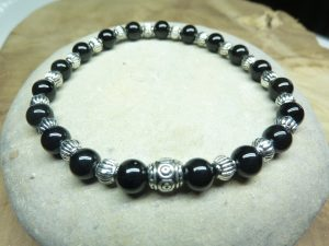 Bracelet Tourmaline noire - perles rondes 6 mm