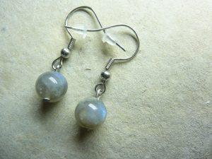 Boucles d'oreilles Labradorite - Perles rondes 8 mm