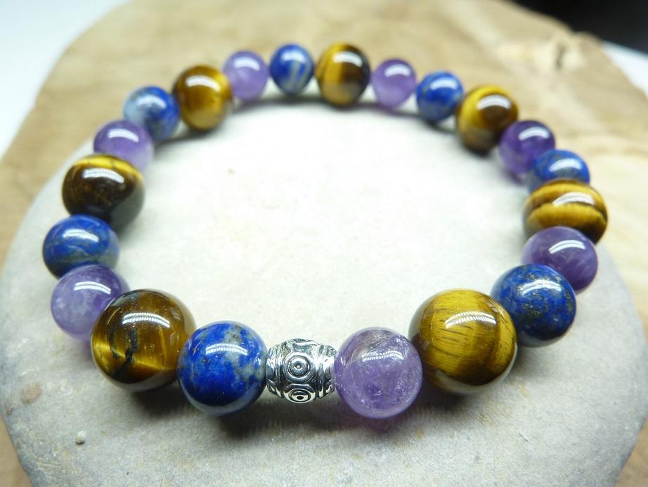 Bracelet Oeil de tigre-Lapis lazuli-Améthyste