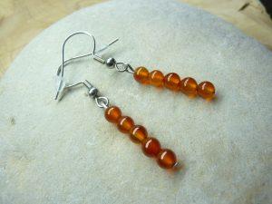 Boucles d'oreilles Cornaline - Perles 4 mm