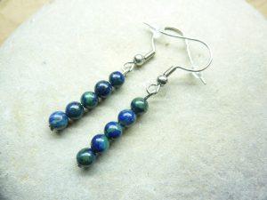 Boucles d'oreilles Chrysocolle - Perles rondes 4 mm