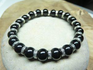 Bracelet Spinelle noir - Perles 8 mm