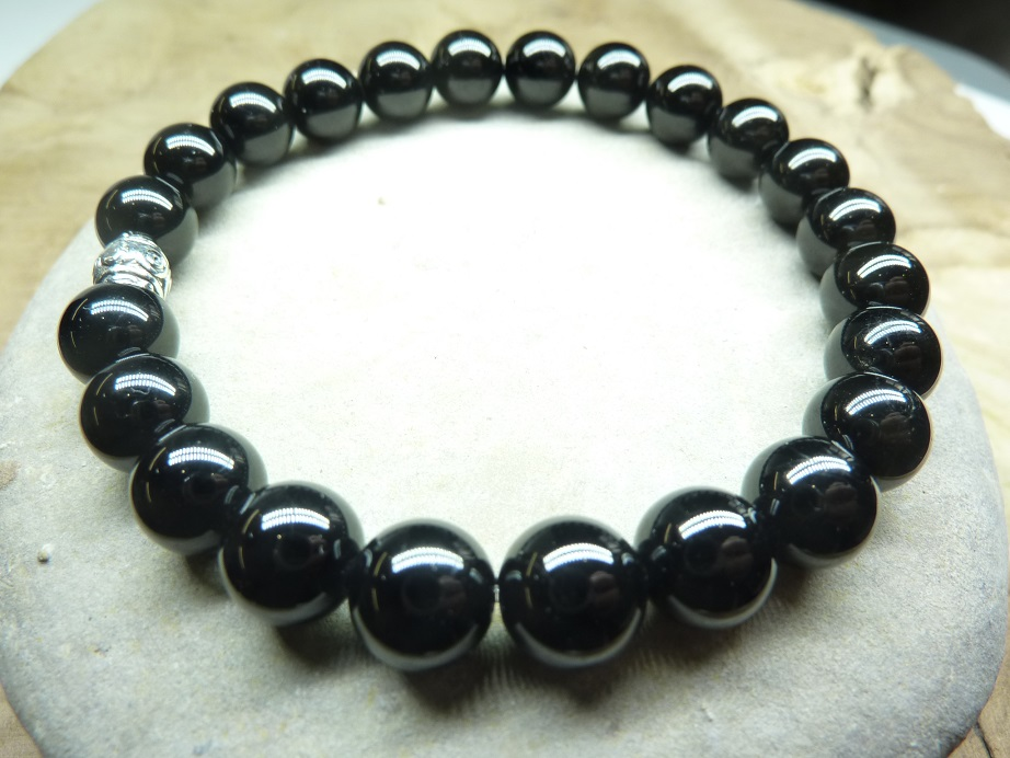 Bracelet Spinelle noir - Perles rondes 8 mm