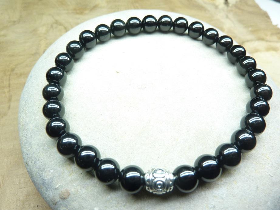 Bracelet Spinelle noir - Perles rondes 6 mm