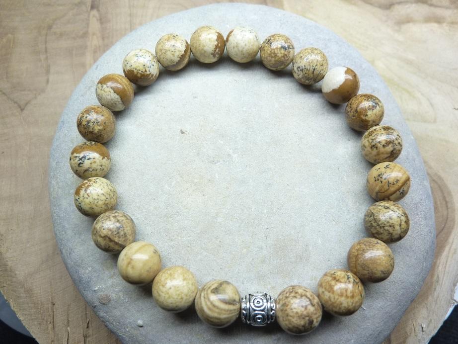 Bracelet Jaspe Paysage - Perles rondes 8 mm