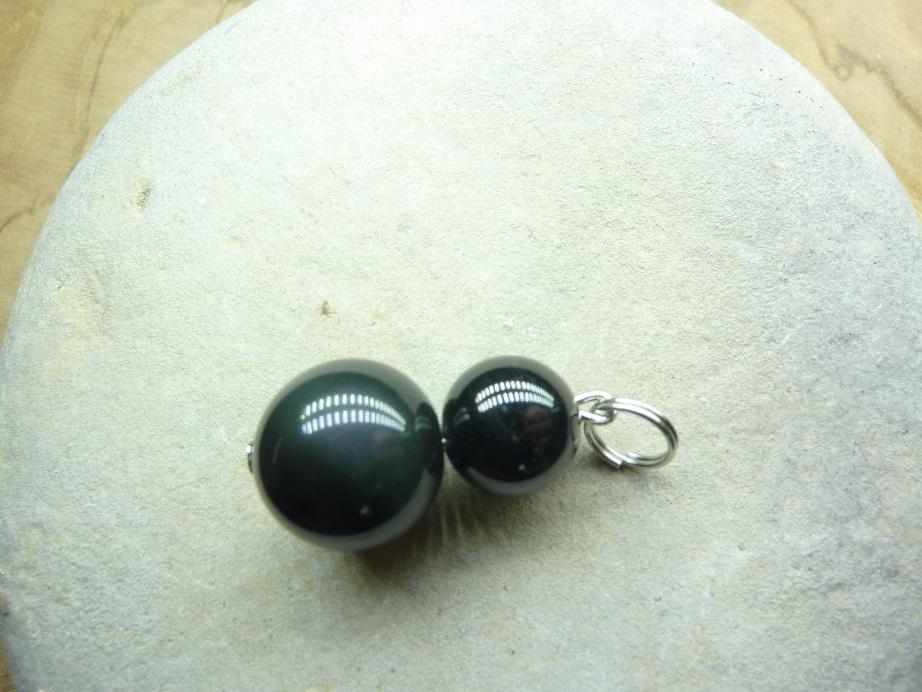 Pendentif Spinelle noir-Obsidienne oeil céleste 14-10 mm