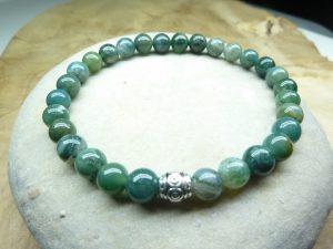 Bracelet Agate Mousse - Perles rondes 6 mm