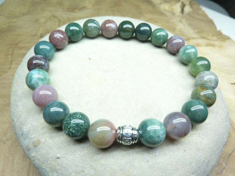 Bracelet Agate Indienne - Perles rondes 8 mm