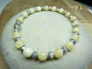 Bracelet Calcite et argent - Perles rondes 6 mm