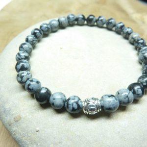 Bracelet Obsidienne flocon de neige - Perles rondes 6 mm