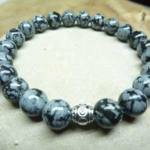 Bracelet Obsidienne flocon de neige - Perles rondes 8 mm