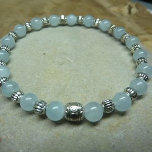 Bracelet Aigue Marine-argent - Perles rondes 6 mm